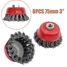 6X 3/'/' M14 Rotary Brass Steel Wire Brush Crimp Cup Set wheel Angle Grinder 75mm