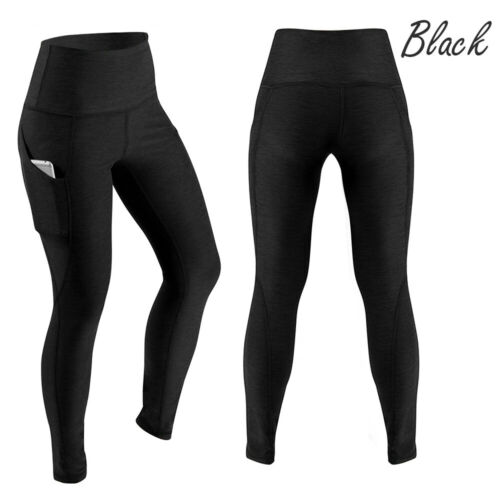 Women High Waisted Yoga Pants With Pocket Leggings Sports Stretch Gym Trousers A