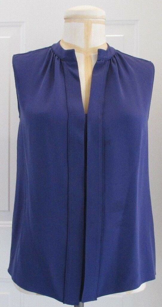 DEREK LAM lila Silk Sleeveless Blouse Open at the Neck - Größe 40