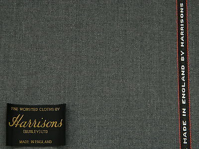 MID GREY TWILL 100/% WOOL SUITING FABRIC 3.5METRES