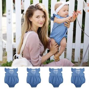 a1f9a99fc Newborn Kids Toddler Baby Girls Denim Romper Jumpsuit Bodysuit ...