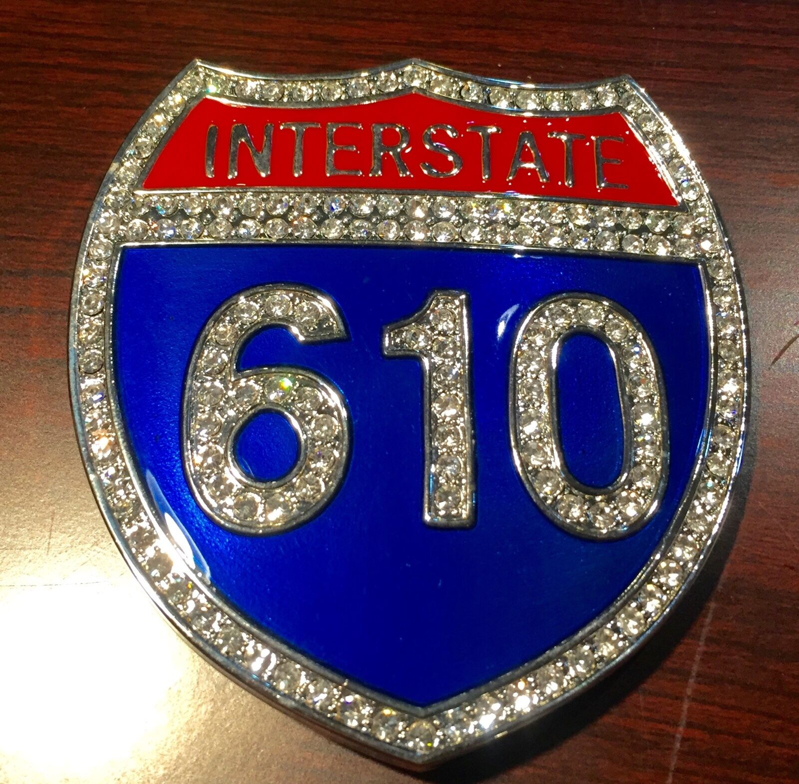 BEAUTIFUL BIKERS BELT BUCKLE INTERSTATE 610 RHINESTONE STEEL NEW GREAT GIFT