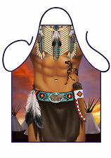 MEN'S SEXY NOVELTY APRON,NATIVE AMERICAN INDIAN MAN,FOR KITCHEN,BBQ, FANCY DRESS