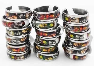 50pcs Bob Marley Rasta stainless steel rings wholesale lots jewelry
