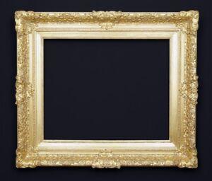 Bilderrahmen-alt-antik-massiv-Prunk-Gold-Holz-Stuck-Historismus-Regence-Rahmen