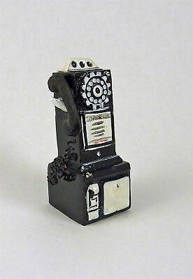 Dollhouse Miniature Retro Black Pay Phone, T8547 Glanzend