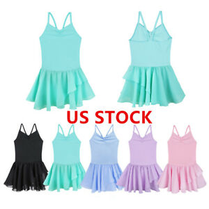 US-Kids-Girls-Dance-Ballet-Leotard-Dress-Costume-Gymnastics-Tutu-Skirt-Dancewear