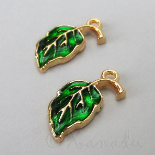 20mm Gold Plated Enamel Autumn Charms C2864-2 Green Leaf Charms 5 Or 10PCs