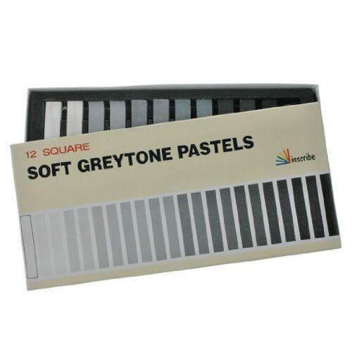 Inscribe Set of 12 Square Soft Greytone Pastels in Black Grey White