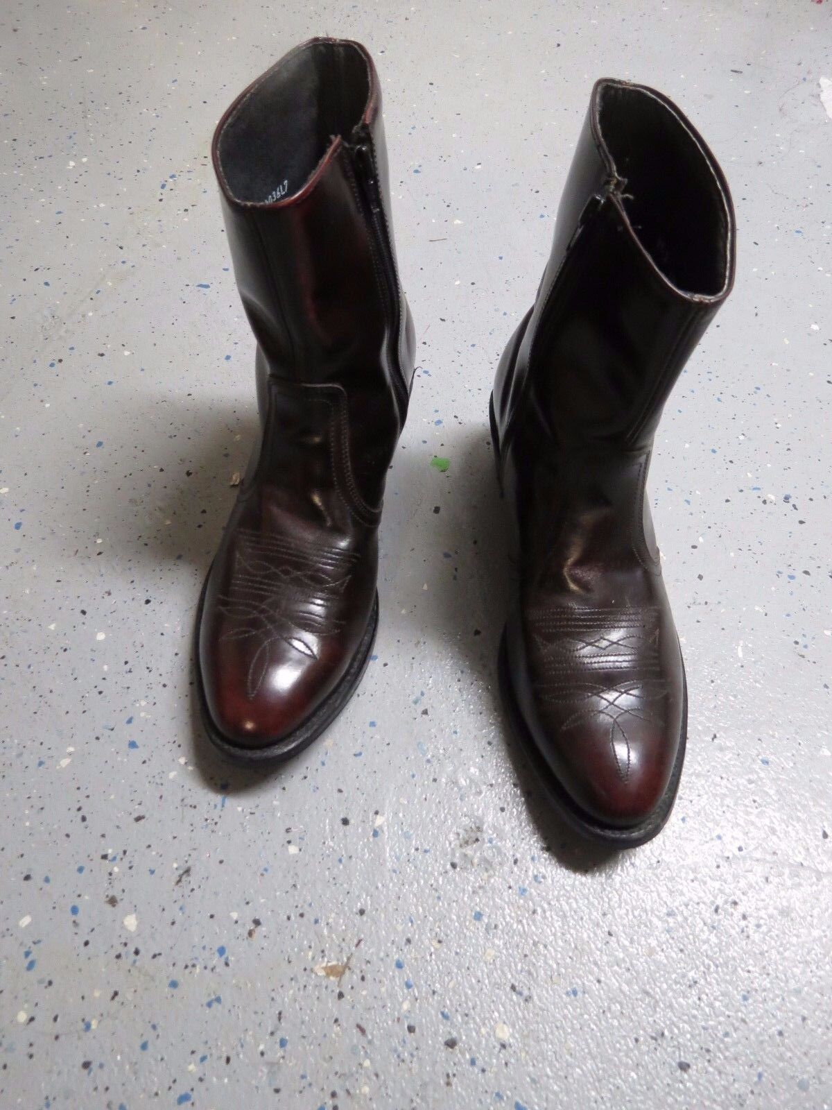 Vintage Mason Western Leather Cowboy Maroon Boots size 9.5D