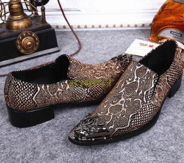Uomo Pointy Leather Formal Loafers Shoes Slip On Dress Metal Pointy Uomo Toe Wedding Sz Hot 061a4b