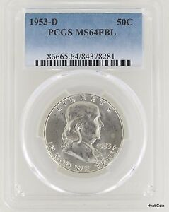 1953-D 50c PCGS MS 64 FBL Franklin Half Dollar Several Available