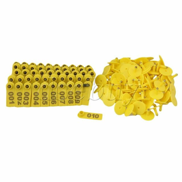 100 Sets Goat Sheep Pig 1-100 Number Plastic Livestock Ear Tag With Yellow Color