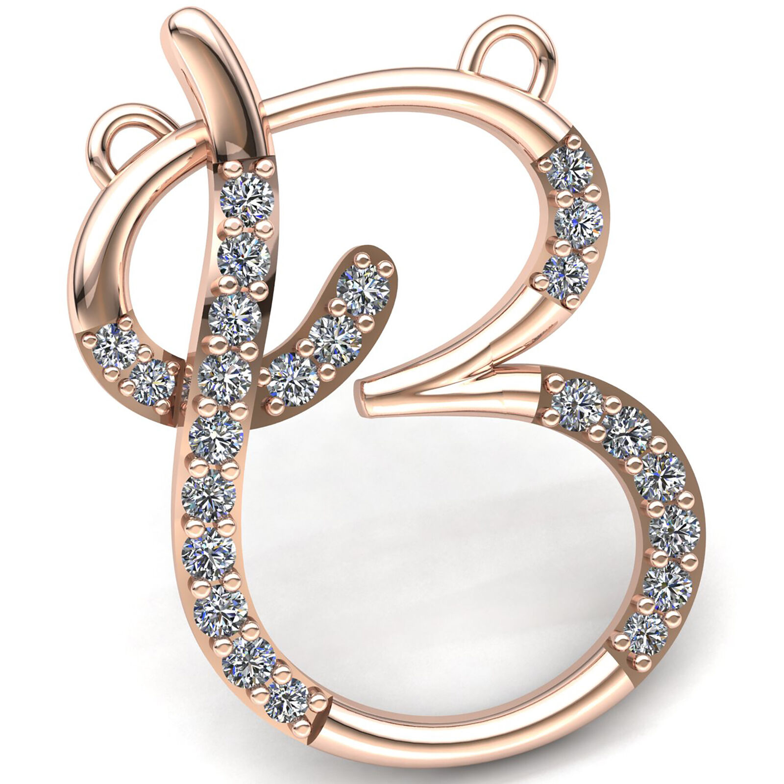 Natural 1ct Round Cut Diamond Women's Alphabet 'B' Letter Pendant 14K gold