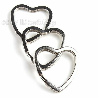 10pcs Hot Selling Rhodium Plated Hearts Charms Split Rings Fit Keychain 31mm C