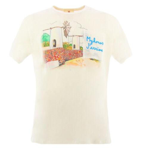 MC2 Saint Barth Ecstasea Emb Mykonos 01 weißes T-shirt für Männer aus reinem Lei
