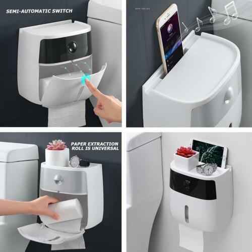 Adhesive Waterproof Wall Mount Toilet Paper Storage Holder Shelf Bathroom Drawer
