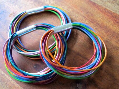 Choix * Multicolore Bracelet en cuir bracelet à langer Arc-en-ciel avec fermeture magnétique