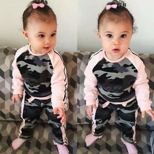 Toddler-Kids-Baby-Girls-Clothing-Long-Sleeve-Pink-Camouflage-Outfits-Set-Casual