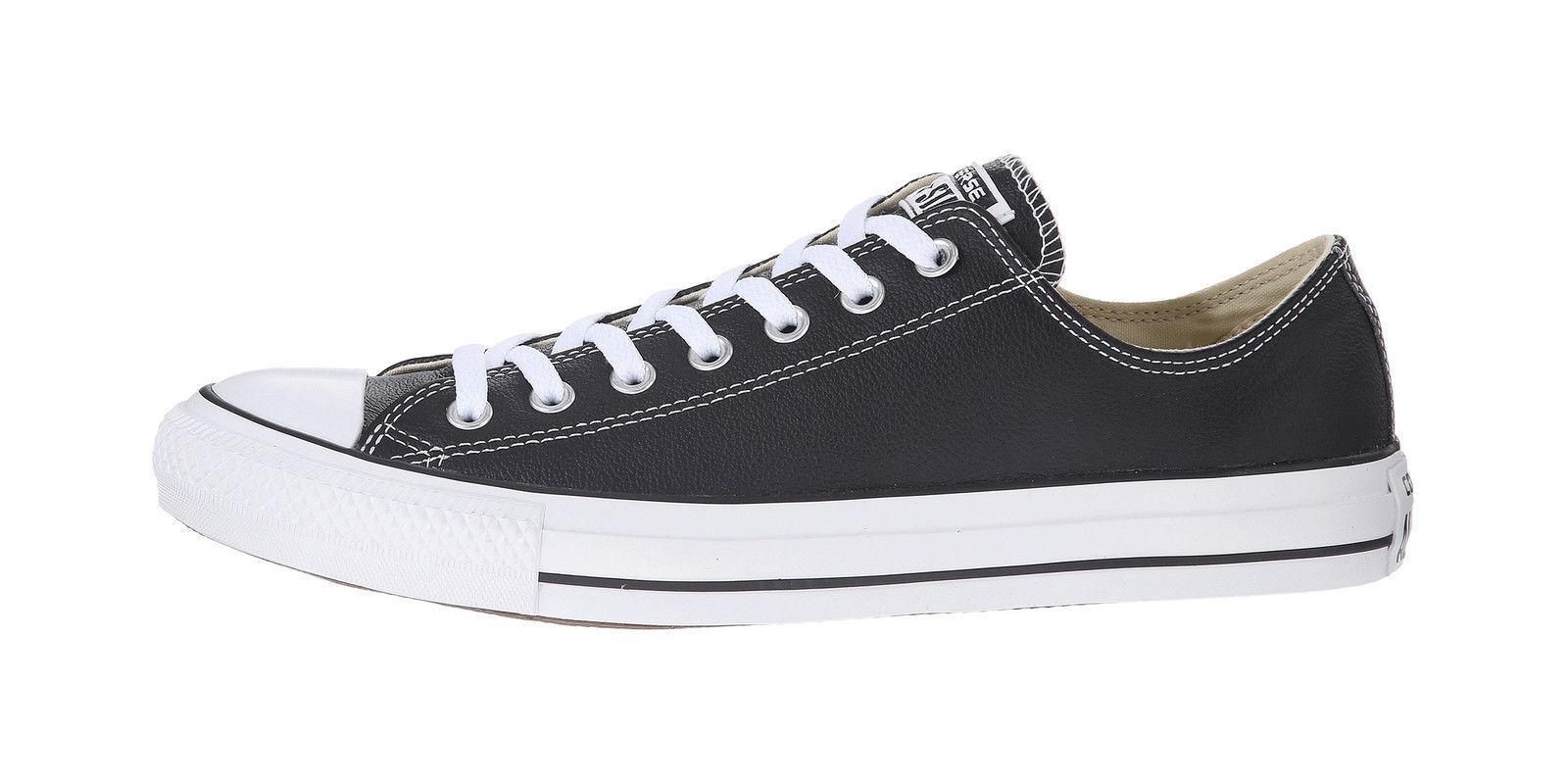 Converse Women Men Unisex All Star Lo Top Leather Shoes Black White Low Chucks