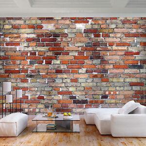 Vlies Fototapete Ziegel Optik Rot Grau Steinwand Tapete Wohnzimmer Wandbiler Xxl Ebay