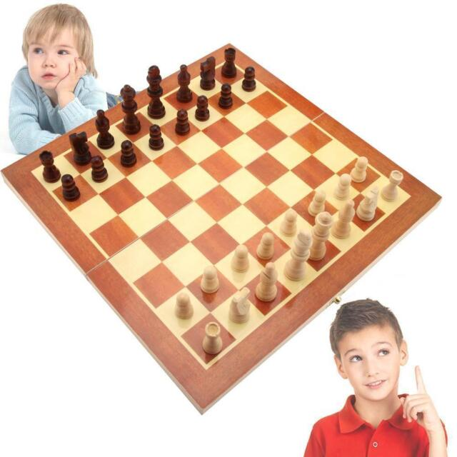 Wooden Pieces Chess Set Folding Board Box Wood Hand Carved Gift Kids Toy 2016 Jэ