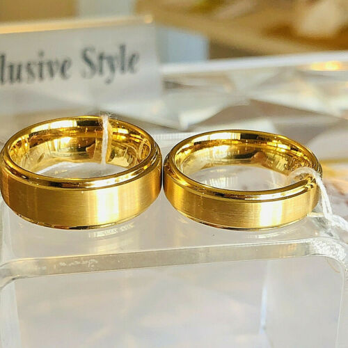 Tungsten Men/'s Ring 14K Gold Infinity Wedding Band 8mm Bridal Jewelry Size 9-11