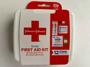 Johnson & Johson To Go FIRST AID KIT ( 12 items) gauze pads bandages travel mini
