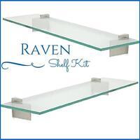 "Raven Floating Glass Shelf Kit - 3/8"" Tempered Glass Shelf with 2 Brackets"