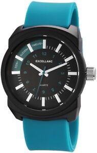 Excellanc-Herrenuhr-Anthrazit-Tuerkis-Analog-Silikon-Armbanduhr-X225673000020