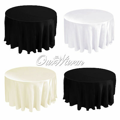 "10 Satin Table Cloths Cover Round 90"" 228cm Diameter Wedding Party Banquet Color"
