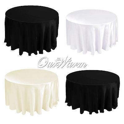 "10 Satin Table Cloths Cover Round 90"" 228cm Diameter Wedding Party Banquet Color"