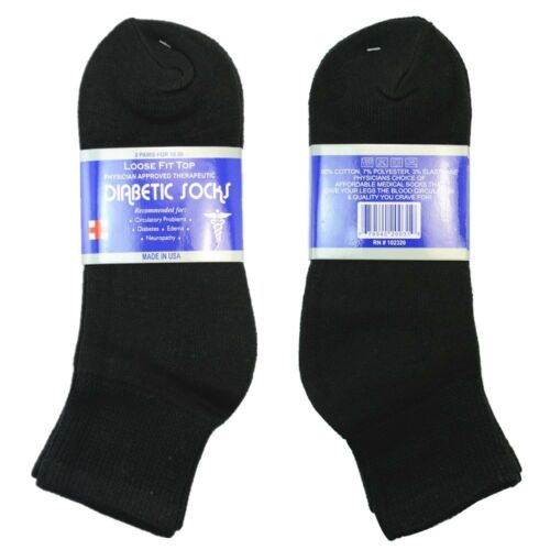 3-12 Pairs Diabetic ANKLE Circulatory Socks Health Cotton Mens Black Gray White