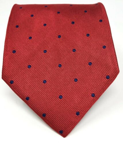 Red Navy Blue Classic Small Pattern Handmade in USA Brooks Brothers Silk Necktie Mint Unused Gift for Him