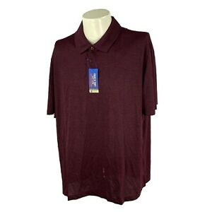 Haggar Men's Performance Easy Care UPF Burgundy Golf Polo NWT Shirt XL