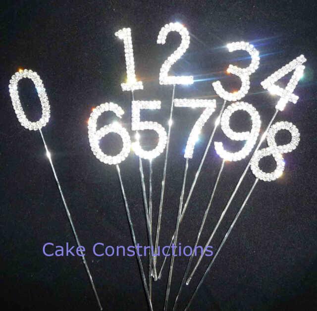 DIAMANTE GEMS DECORATION NUMBER 1 2 3 4 5 6 7 8 9 0 RHINESTONES CAKE PICK TOPPER