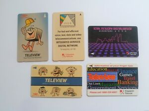 Singapore-Phonecard-Set-of-5-Teleview-ISDN-Total-Network-Digitalisation-L31