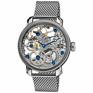 New-Men-039-s-Akribos-XXIV-AK526SS-Mechanical-Skeleton-Silver-tone-Steel-Mesh-Watch