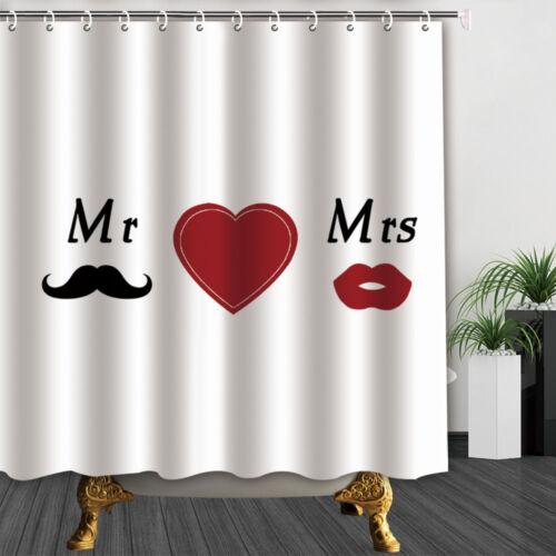 Mr love Mrs Bathroom Decor Shower Curtain waterproof Fabric /& 12hooks 71*71in