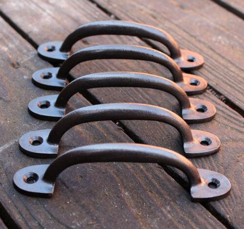 """1 x ANTIQUE CAST IRON DRAWER D PULL HANDLE DOOR CUPBOARD KITCHEN 5/"""" HA03-5c"""