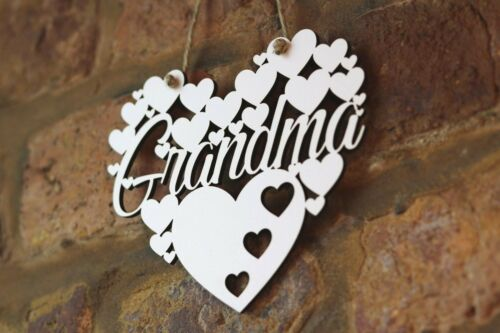 Grand-mère Blanc Love Wall Hanging Heart Cadeau Nana décoration grand-mère SIGNE