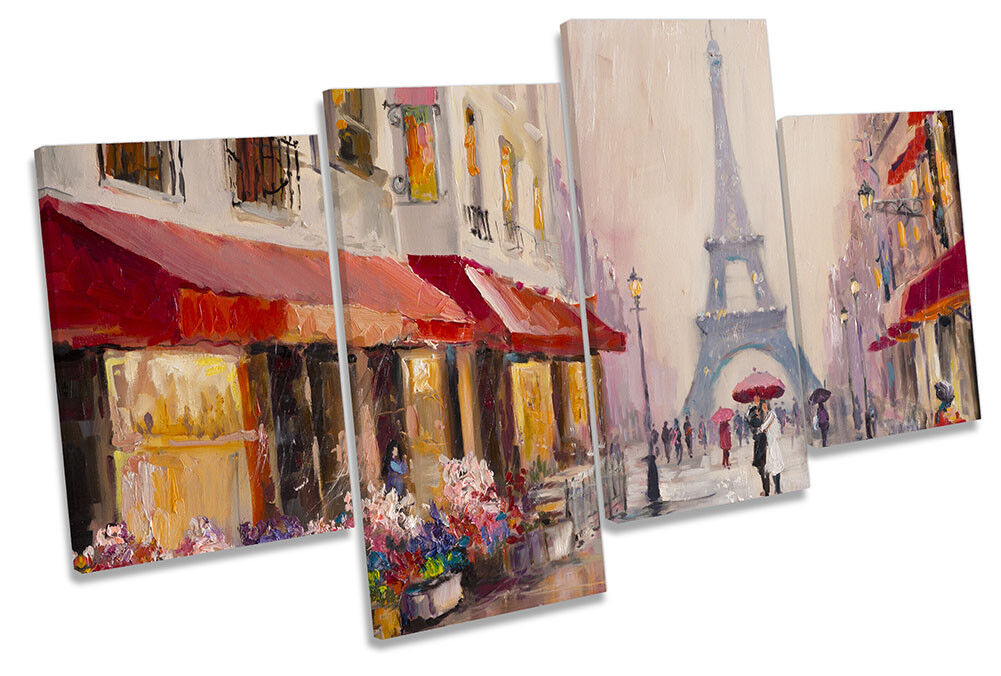 Eiffel Tower Street Scene Framed MULTI CANVAS PRINT Wall Art