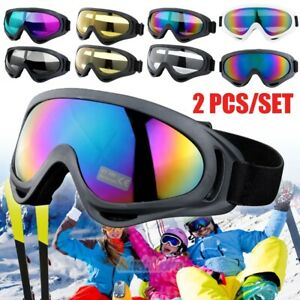 2Pairs-Snow-Sports-Goggles-Men-Womens-Ski-Snowboard-Snowmobile-Skate-Sun-Glasses