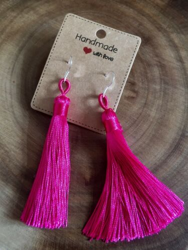 Pink Long Tassel Earrings Sterling Silver Wires