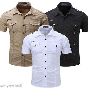 Para Hombres Camisas Mangas Cortas Camisa de Calce Ajustado Informal FormalS-3XL