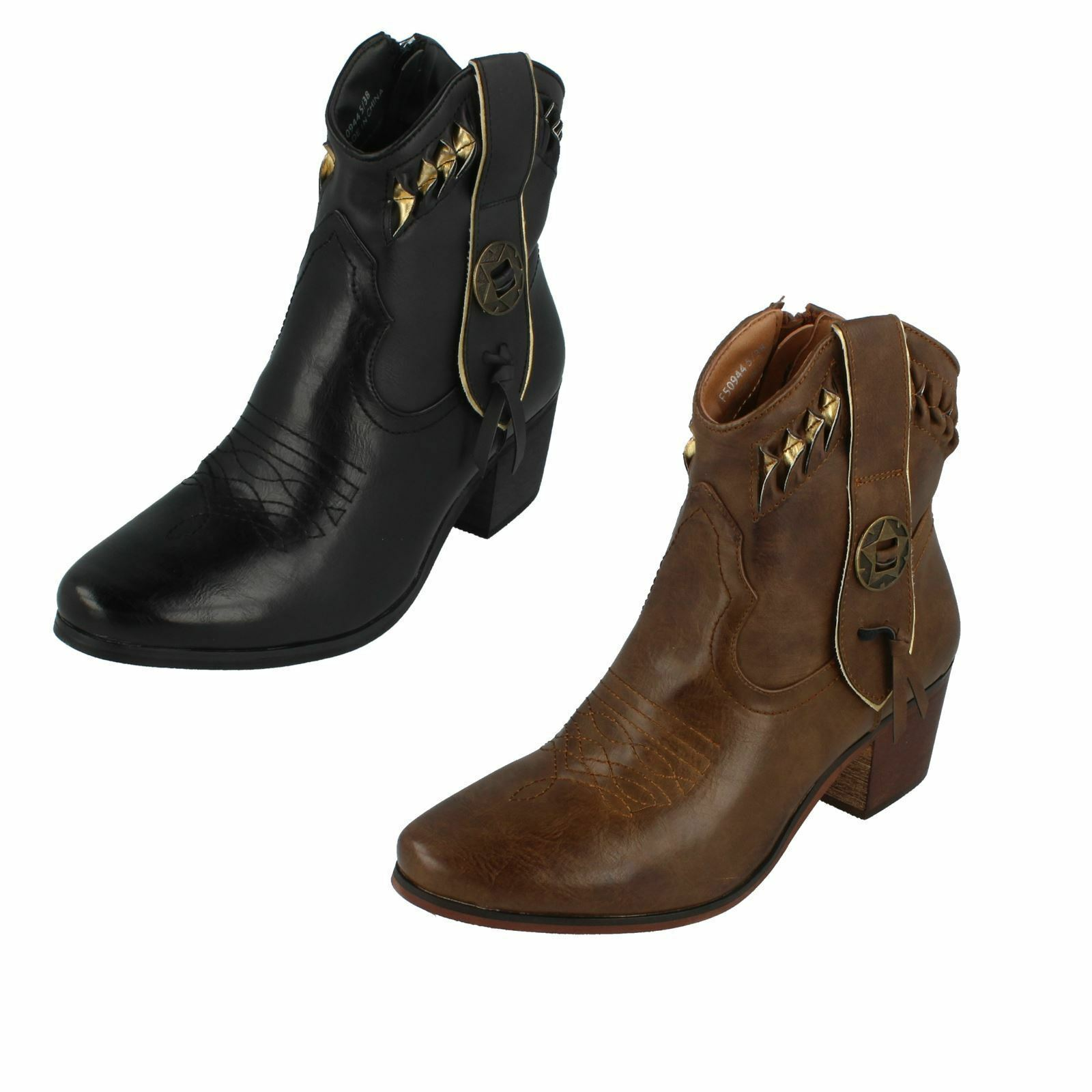 DOWN TO EARTH F5R0944 SMART COWBOY COWBOY COWBOY STYLE LADIES ANKLE BOOTS WARM WINTER ZIP UP 1432b5