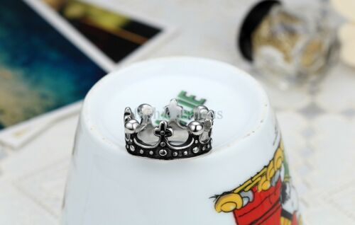 New Silver/&Black Vintage Crown Stainless Steel Ring Mens Womens Band Size L-T