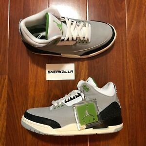 697095098e8 Nike Air Jordan Retro III 3 CHLOROPHYLL Smoke Grey Green 136064-006 ...