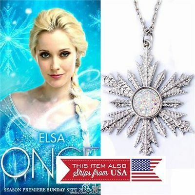 Once upon a time, Anna's frozen snowflake pendant necklace Elsa