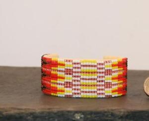 Buckskin-Leather-Hand-BEADED-1-034-Cuff-Bracelet-Native-American-Indian-Jewelry-I
